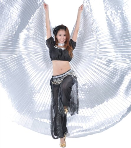 Christmas gift silver Handmade Opening Belly Dance Costume Isis big Wings