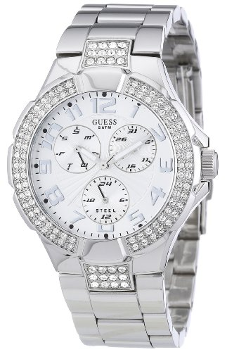 Guess Unisex Watch I14503L1 with Silver Sunray Dial, Silver Colour Steel Bracelet and Steel Case