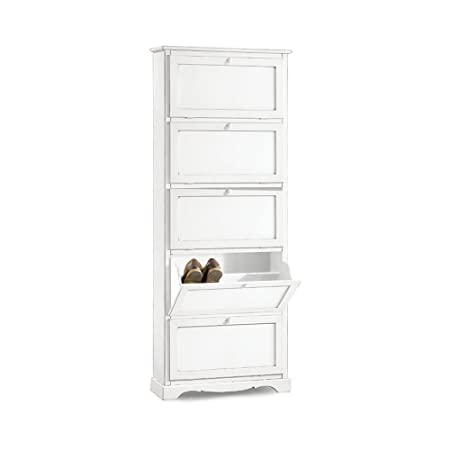 Shoe rack 5 doors, classic style, solid wood and MDF - Meas. 79X30X210 100% made in italy