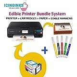Icinginks Latest Edible Printer Bundle, Includes 50 Edible Sheets, Edible Cartridges, Edible Markers, Cake Printer, Edible Ink Printer, Edible Image Printer, Canon Edible Printer (Color: Black, Tamaño: 18