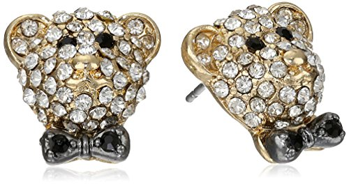 "Betsey Johnson ""A Day At The Zoo"" Pave Crystal Bear Stud Earrings front-985862"