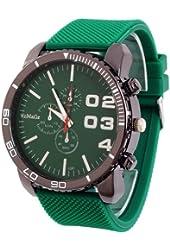 2013newestseller 1pcs Green Casual Mens Womens 3 Eyes Big Dial Quartz Wrist Watches
