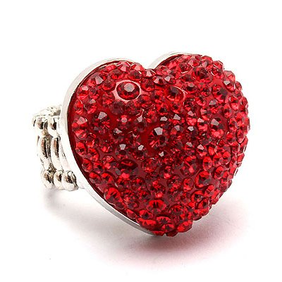Bubbly Crystal Rhinestone Heart Stretch Adjustable Ring Valentine Silver Red