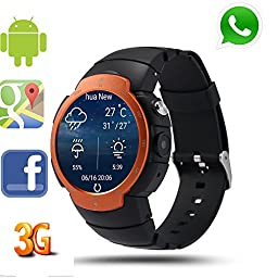 LEMFO LEM3 3G Smart Watch Cell Phone All-in-One MTK6580 Android 5.1 Quad Core WiFi GPS Heart Rate Monitor (Vibrant Orange)