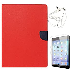 Mercury Textured Wallet Diary Case for Apple iPad 2/3/4 (Red) + White Earphones + Matte Screen