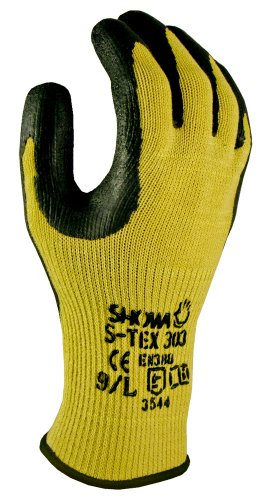 Showa Best S-Tex303 Natural Rubber Palm Coating Glove, Hagane Coil Kevlar And Dupont Seamless Liner, Cut Resistant, Small (Pack Of 12 Pairs)