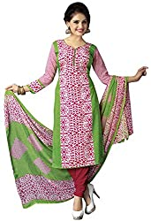 The Desi Attire Women's Crepe Unsticthed Dress Material (111_Pink_36)