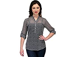 Colornext Georgette Grey Top for Women (Size: X-Large)