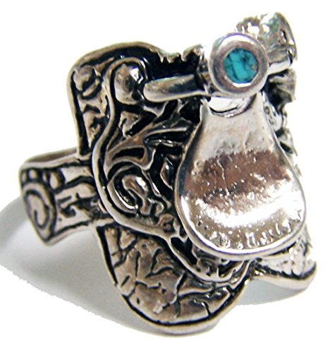 HORSE SADDLE SILVER MENS OR WOMENS DELUXE BIKER RING - SIZE 7 (Saddle Ring compare prices)