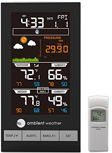 Ambient Weather WS-2800 Advanced Wireless Color Forecast Station with Temperature, Humidity & Barometer