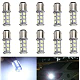10-Pack 1157 2057 2357 7528 BAY15D 18-SMD LED Bulbs For Turn Tail Signal Brake Light Lamp Backup Lamps RV Camper White