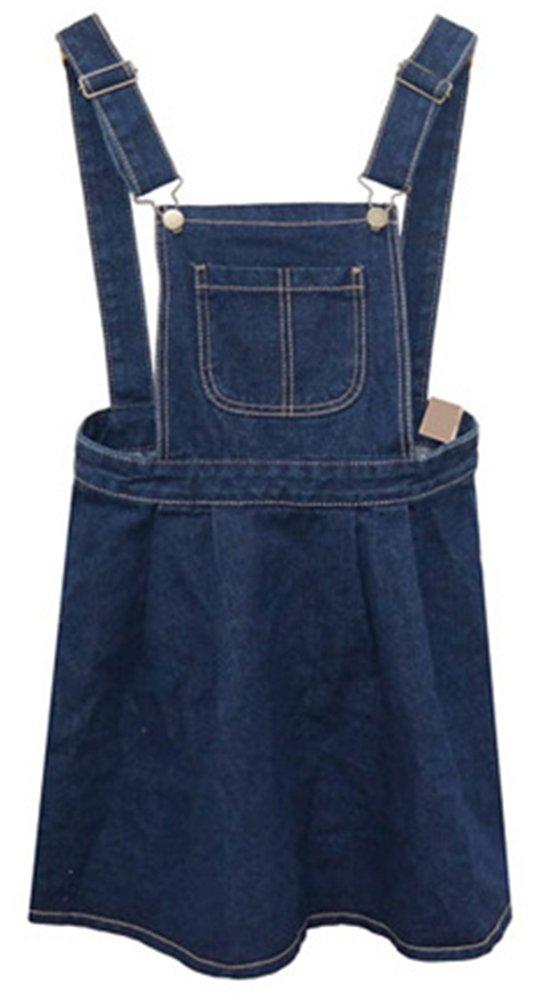 AnVei-Nao Womens Girls Retro Denim Jeans Slim Overalls Casual Ruffle Strap Dress 1