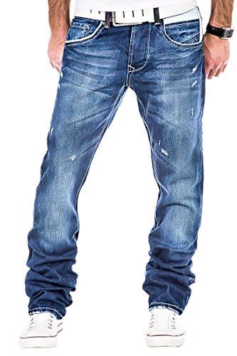 L.A.B 1928 Herren Jeans dicke Nähte Chino Hose Clubwear Cargo Dunkelblau Blau / W29 - W40 / LAB-202 (W38/L32)