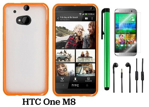 Htc One M8 Premium Transparent Clear Composite Material Back Cover Case (For 2014 Htc New Flagship Android Phone) + 3.5Mm Stereo Earphones + Screen Protector Film + 1 Of New Assorted Color Metal Stylus Touch Screen Pen (Orange Tpu Edge With Clear Plastic