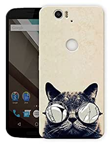 """Cool Cat Printed Designer Mobile Back Cover For """"Google Nexus 6 Plus"""" By Humor Gang (3D, Matte Finish, Premium Quality, Protective Snap On Slim Hard Phone Case, Multi Color)"""