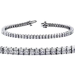5.00 CT TW Channel Set 100% Natural Princess Cut Diamond Tennis Bracelet in 14k White Gold (F-G-color/VS2-SI1-clarity)