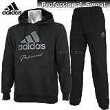 adidas アディダス ジャージ Professional 裏起毛 スウェット ジャケット パンツ 上下 BVU24 AZ4122 BVU23 AZ4125 ブラック (M)