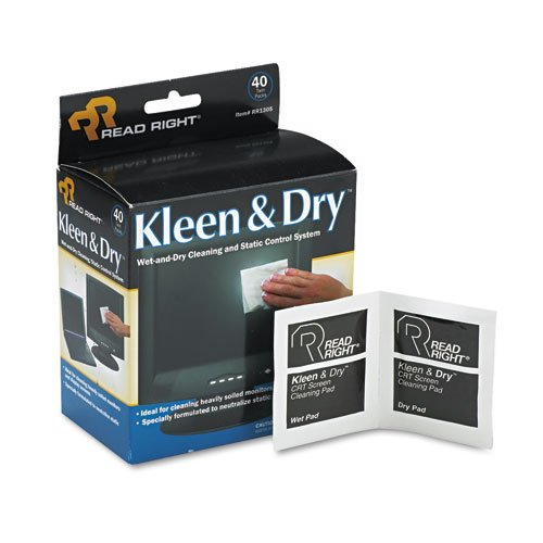 Read Right Kleen & Dry Screen Cleaner Wet Wipes, Cloth, 5 x 5, 40/Box RR1305
