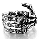 Men's Stainless Steel Ring Band Silver Black Skull Hand Bone Gothic Size7