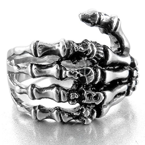 Men's Stainless Steel Ring Silver Tone Black Skull Hand