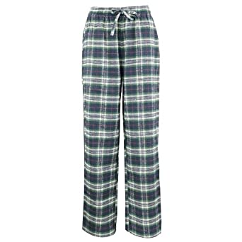 Women's Flannel Pajama Sleepwear Lounge Pants Green Plaid Small