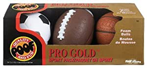 POOF-Slinky 453BL POOF Pro Gold Mini Foam 4-Inch Basketball 6-Inch Football and 4-Inch Soccer Ball, 3-Ball Sport Pack by Poof TOY (English Manual)