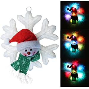 Large Multi Colour Changing Snowman Snowflake Illuminated with 8 LED Lights Christmas Decoration - Size 30cm