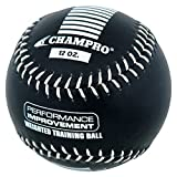 CHAMPRO SPORTS Training Softball, Weighted 12oz Black Leather Ball CSB712
