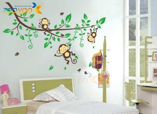 Hunnt® Monkeys and Tree Giant Baby/Nursery Wall Sticker Decals ,Super For Boys and Girls Nursery Room Home Decor Decal Children's Room