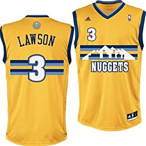 NBA adidas Ty Lawson Denver Nuggets Revolution 30 Replica Performance Jersey - Gold by adidas
