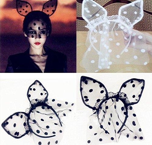 Set of 2 pcs White & Black Sexy Dot Rabbit Bunny TUTU Ears Lace Gauze Veil Hair Mask - Night Club (Sexy Bunny Makeup)