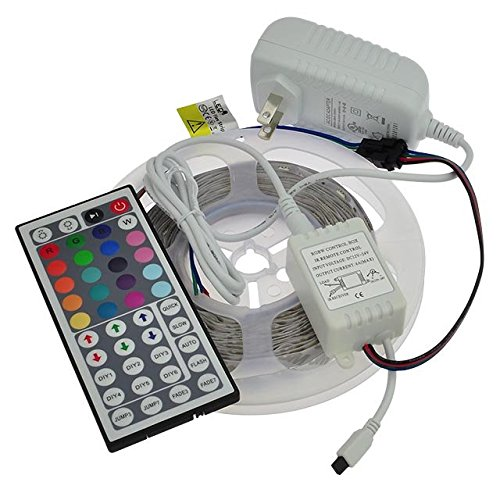 LEDwholesalers 12-Volt 16.4-ft RGB Color-Changing Kit with Controller and IR Remote, Power Supply, and LED Strip in White PCB, 2034RGB-R2+3369+3208 (Radiation Strip compare prices)