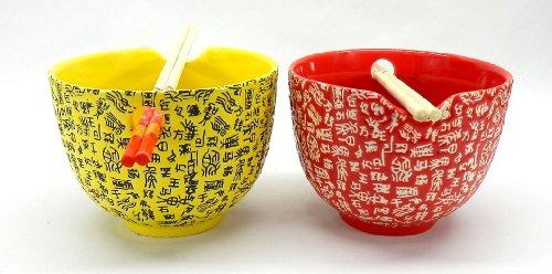 特殊なお茶碗 箸もしっかり収納 2個セット (レッド×イエロー)
