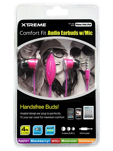 Xtreme Comfort Fit Audio Earbuds With Mic - Retail Packaging - Pink