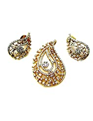 Poddar Jewels Cubic Zirconia Golden Pendant Set