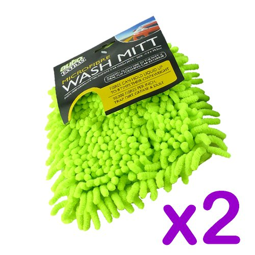 PACK 2 - GREEN HIGH PERFORMANCE MICRO-FIBER CAR WASH MITT - GLOVE TYPE - FOR VALETING, POLISHING AND WAXING - IDEAL FOR CAR, BIKE, MOTORBIKE, BOATS, CARAVANS - CAN HOLD LIQUID UP TO 8 TIMES OF THEIR OWN WEIGHT - TRAP, DIRT, GREASE AND DUST