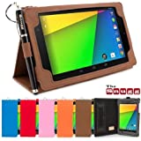 Snugg™ Nexus 7 2 Case - Smart Cover with Flip Stand & Lifetime Guarantee (Distressed Brown Leather) for Nexus 7 2