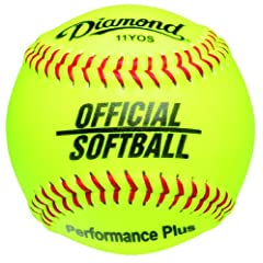 Buy Diamond Dozen-Count 11-Inch Synthetic Optic Cover Softball, Cork Core by Diamond Sports
