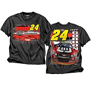 Jeff Gordon Checkered Flag Break Out Black 2 Sided T-Shirt Adult XL Tee by NASCAR