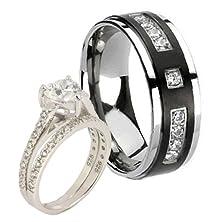 buy Bride Groom 3 Pcs 2.2Ct Sterling Silver Cubic Zirconia Black Middle Titanium Wedding Ring Set Sz7,11