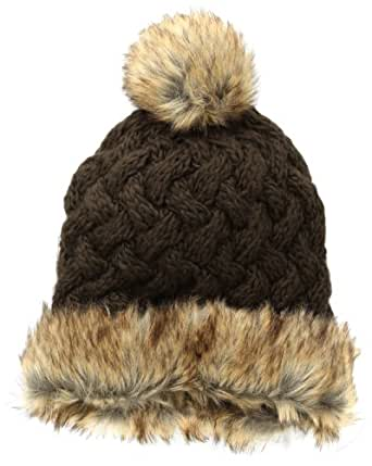 San Diego Hat Women's Cable Knit Beanie with Faux Fur Pom Pom, Brown, One Size