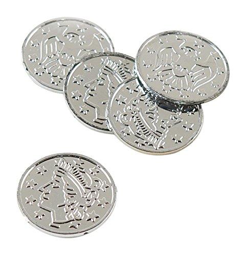 Plastic Coins (silver)    (100/Pkg) - 1