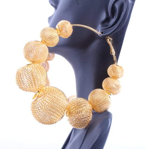 Gold Basketball Wives Mesh Disco Ball Hoop Earrings Poparazzi Lightweight Paparazzi