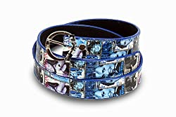Women blue and white print design belt