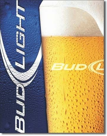 Tin Sign : Bud Light - Frosty Glass Tin Sign