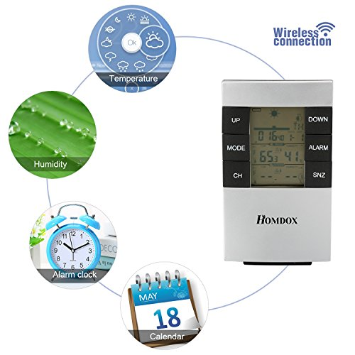 Homdox wireless weather forecast station clock humidity for Indoor wireless network design