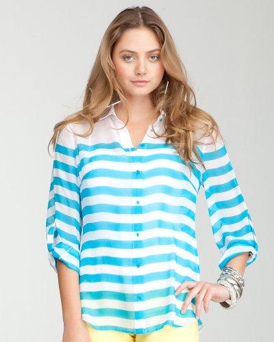 Bebe Button Up Stripe Top WHITE-CAPRI BREEZE Size X-Small