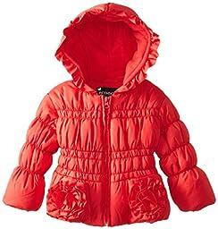 Rothschild Baby Girls\' Pocket Rosette and Ruffle Trim Jacket, Lollipop Red, 18 Months