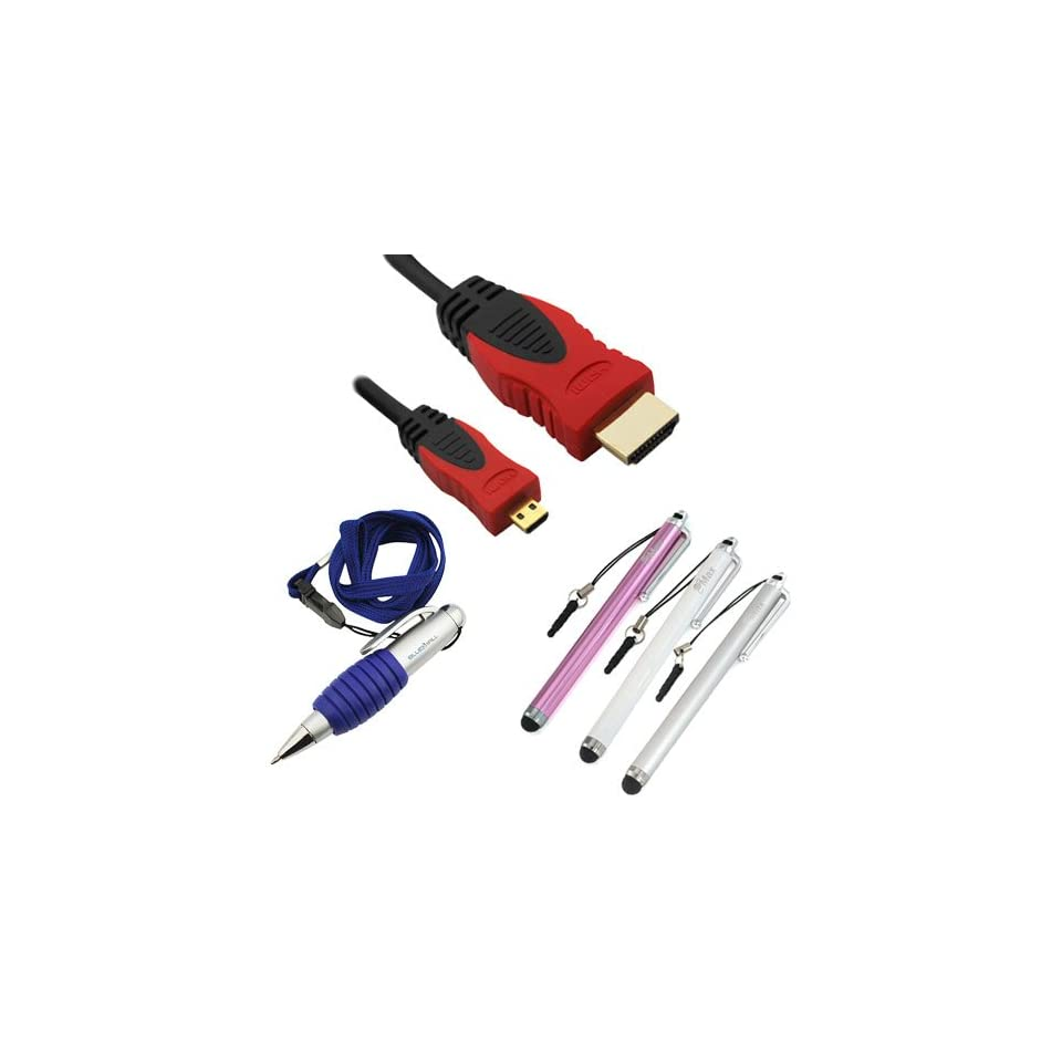 GTMax 10FT (Red / Black) Gold Plated Micro HDMI Cable + 3 Packs of Stylus Pen (Silver / Pink / White) + Pen with Neckstrap Lanyard for Blackberry Z10 ; Google Nexus 10 ; Lenovo IdeaTab A2109, K1 Ideapad