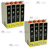 8x T1281 Black printing Ink Cartridges Compatible for Epson Stylus S22 SX125 SX130 SX420W SX425W SX430W SX435W SX438W SX440W SX445W & Epson Stylus Office BX305F BX305FW BX305FW Plus (8x T1281 Black)
